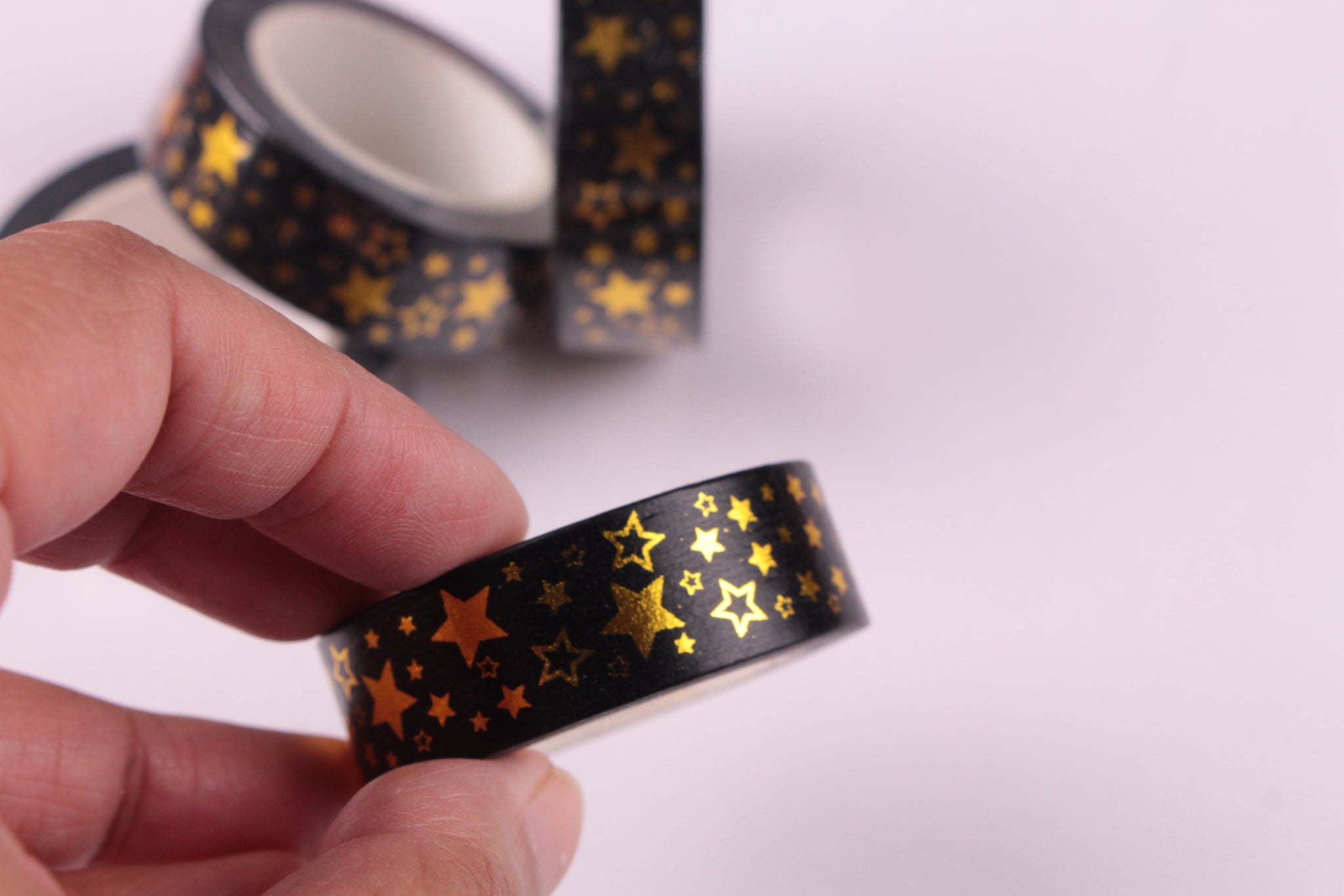 Gold Foil Stars on Black washi tape