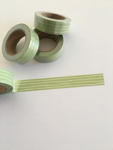 Green and White Doodle Stripe Washi tape