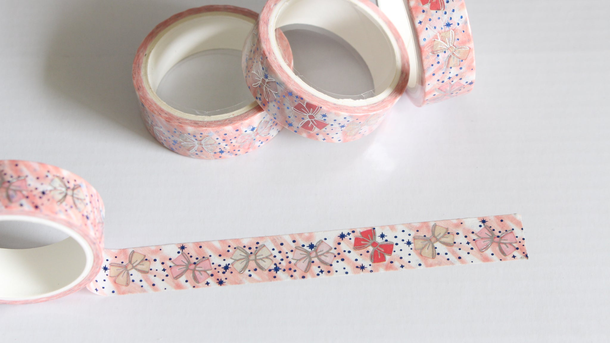Pastel bows with Silver foil Washi Tape