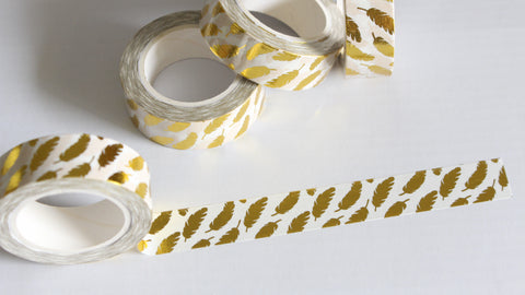 Gold Foil Feathers Washi Tape