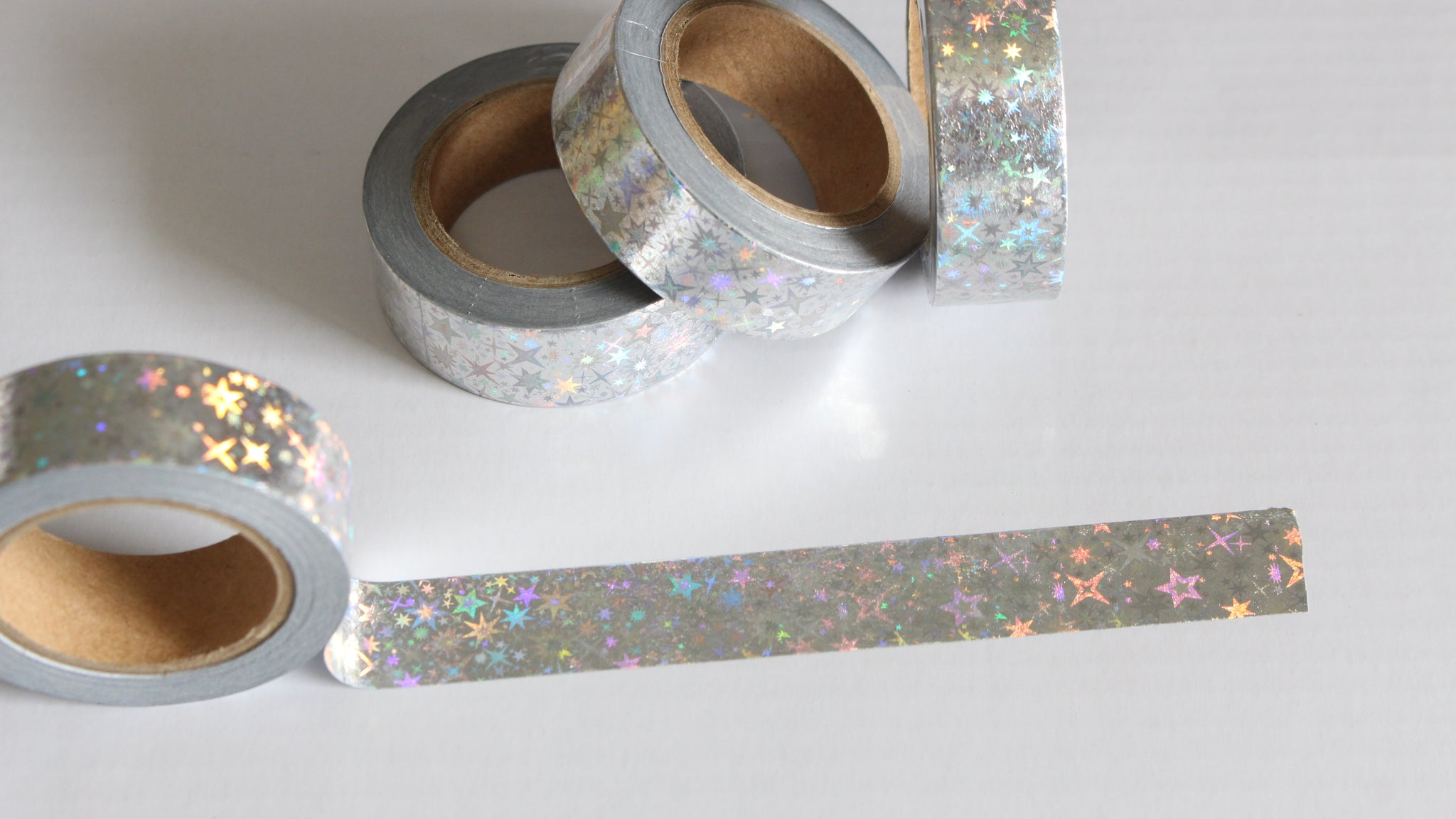 Holo Stars on Silver Washi Tape