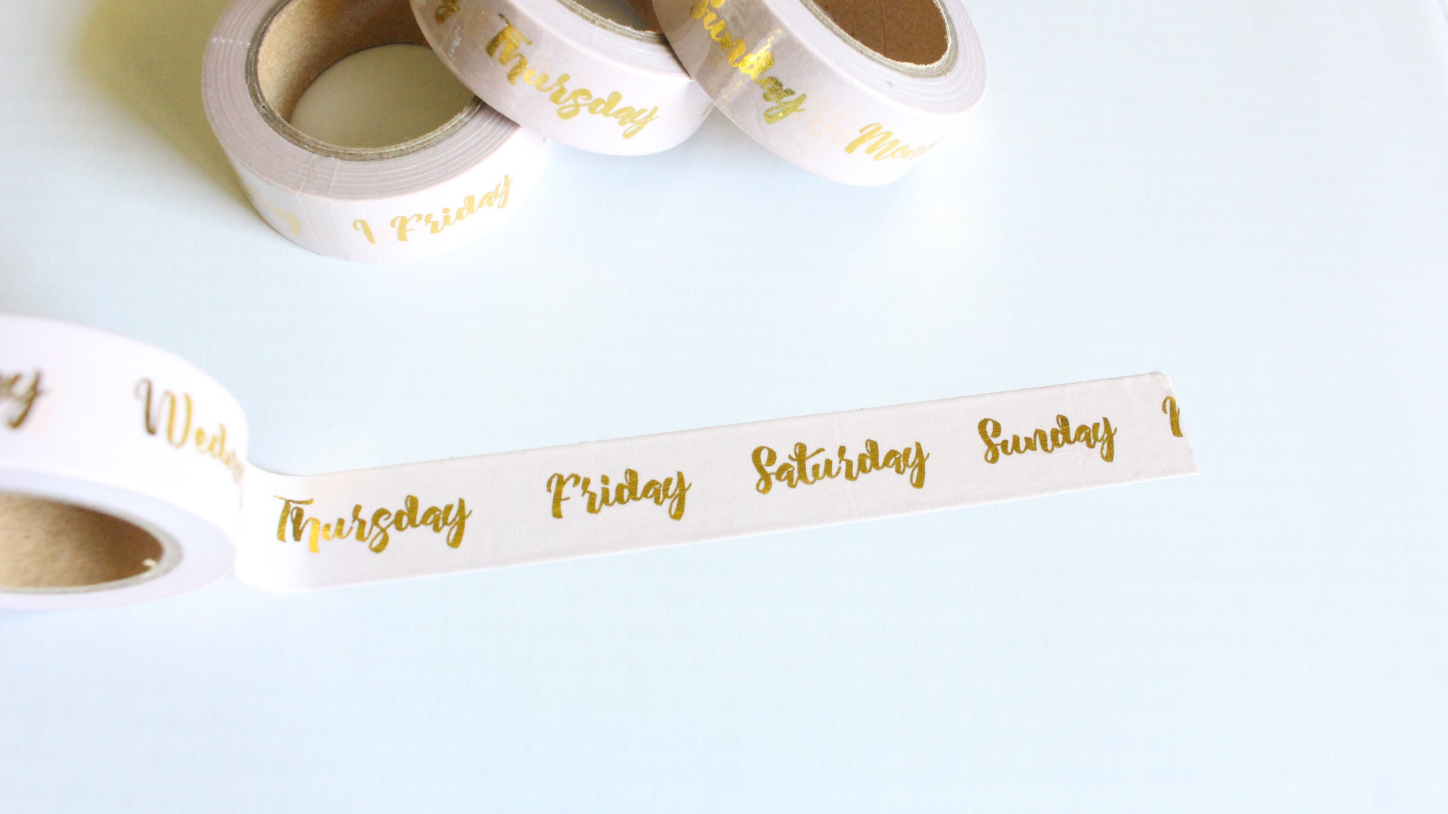 Gold Foil Days of the Week on pale Pink Washi Tape