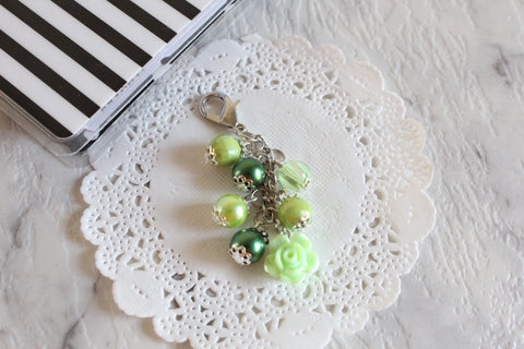 Green Flower Planner Charms