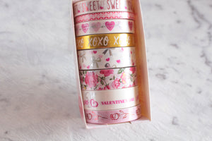 Pink & White Washi tape - Set of 8