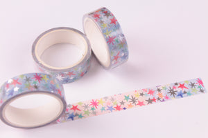 Silver Foil Holographic Rainbow Stars Washi Tape