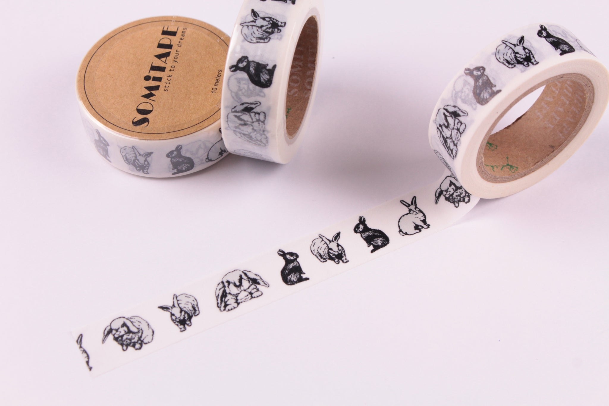 Black Bunnies Washi Tape, Black Rabbits Washi Tape
