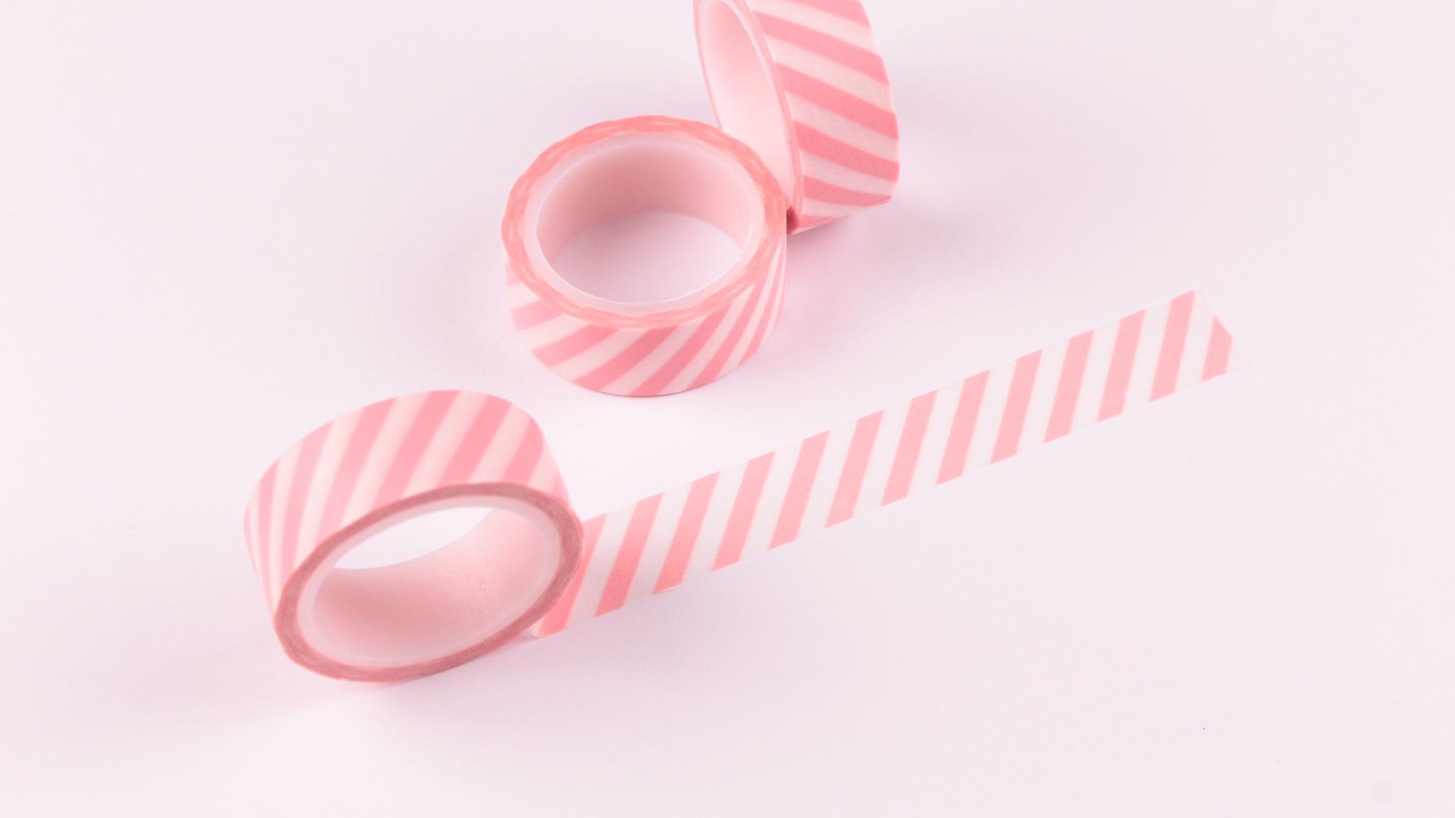 Pastel Pink Diagonal Stripes Washi Tape