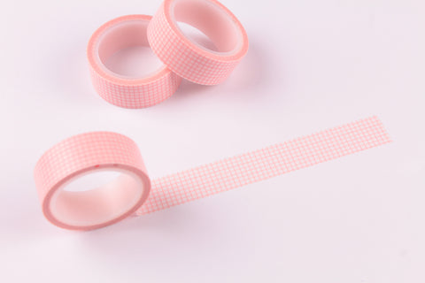 Coral Grid Washi Tape