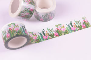 Flamingo and Cactus Washi Tape - Wide Washi - 30mm