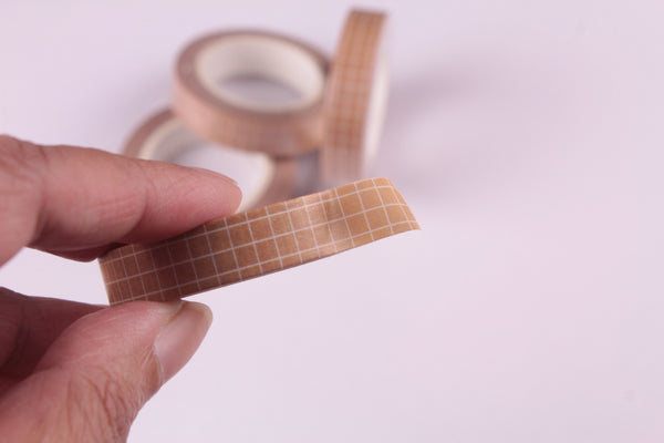 Light Brown grid Washi Tape, BuJo series washi tape, 10mm