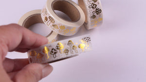 Gold Foil Mushrooms Washi Tape