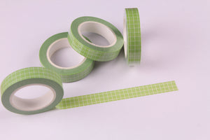 Green grid Washi Tape, BuJo series washi tape, 10mm