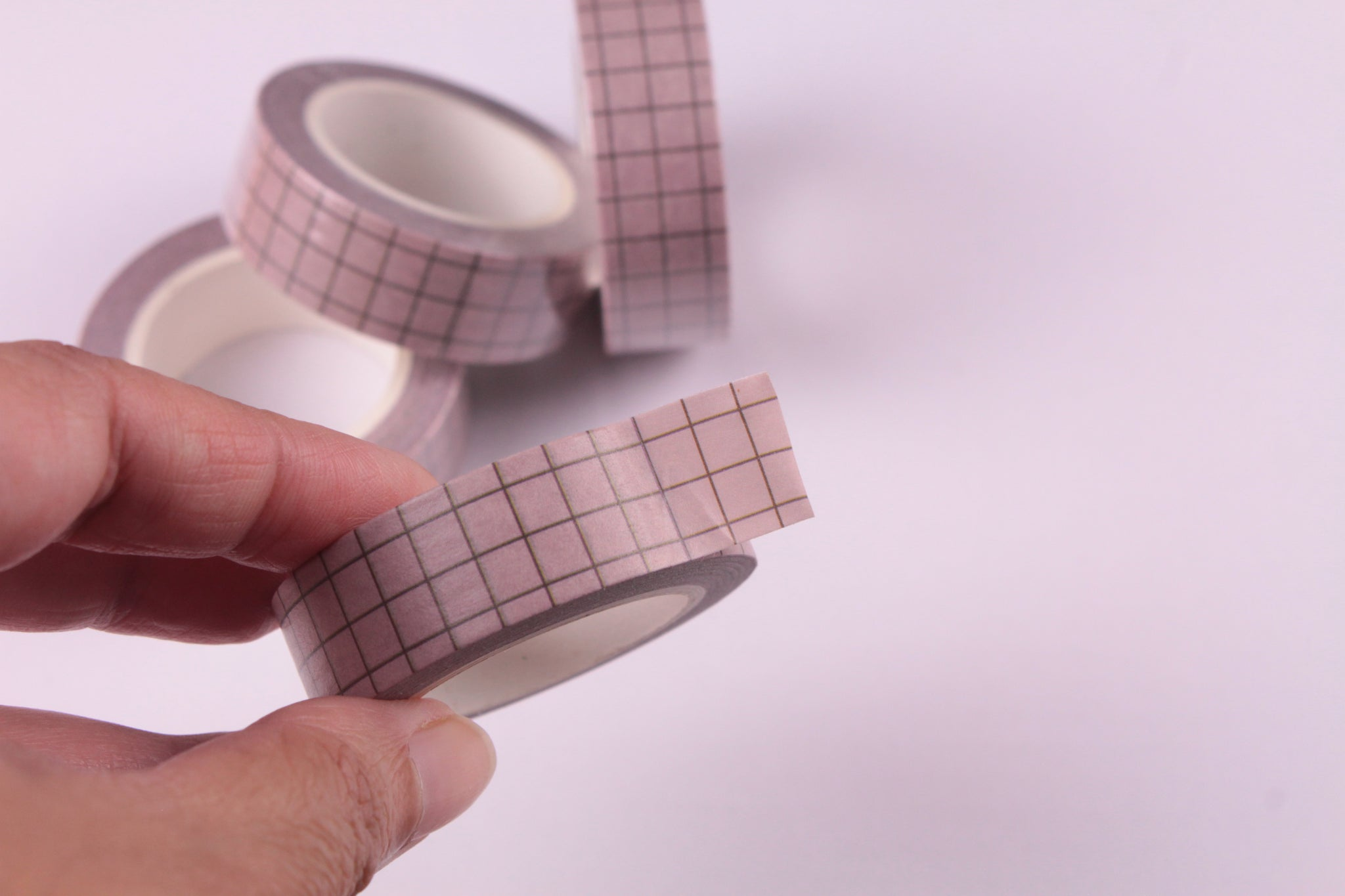 Blush Grid Washi Tape, BuJo series washi tape, 15mm
