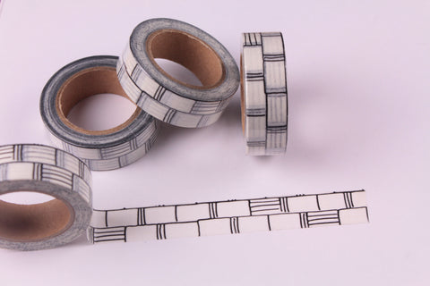 Monochrome Washi Tape, Black and White Brick Washi tape