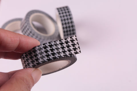 Monochrome Houndstooth Washi Tape, Black and White Houndstooth Washi tape