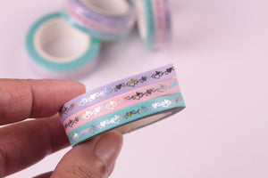 Foil Hearts on Pastel Washi Tape