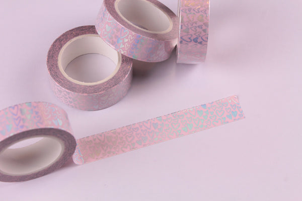 Holo Foil Hearts on Pink Washi Tape