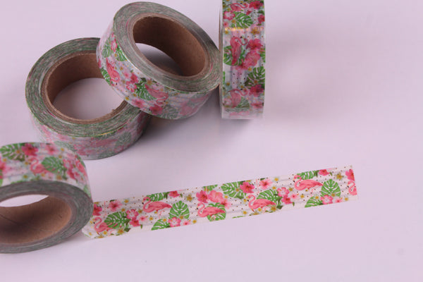 Tropical Flowers and Flamingoes with Gold Foil Accents Washi Tape