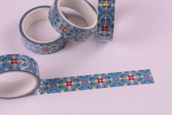 Silver Foil on Blue Washi Tape