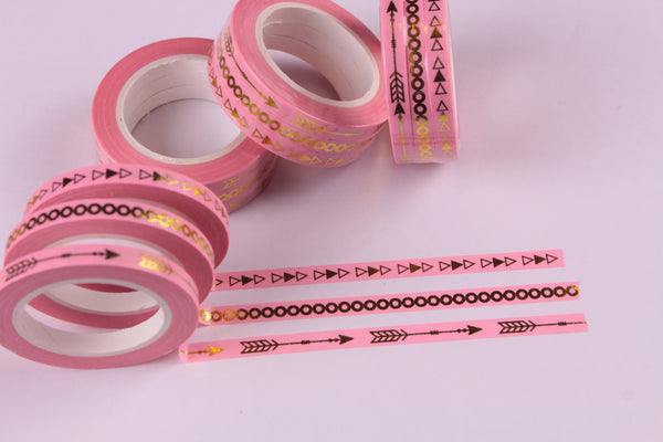 Pink and Gold Foil Washi Tape, Skinny Washi tape