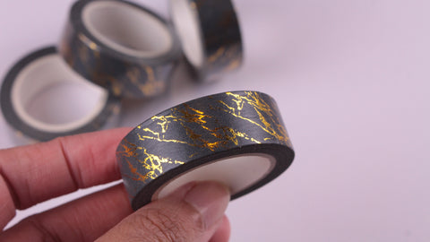 Gold Foil on Black Washi Tape