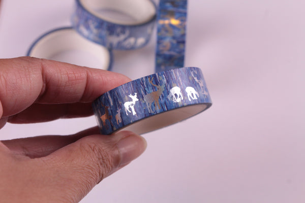 Silver Foil Reindeer on Blue Washi Tape