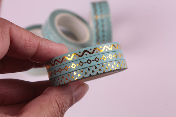Mint and Gold Foil Washi Tape, Skinny Washi tape