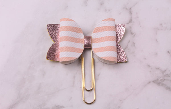 Striped Blush Planner Bow Clip