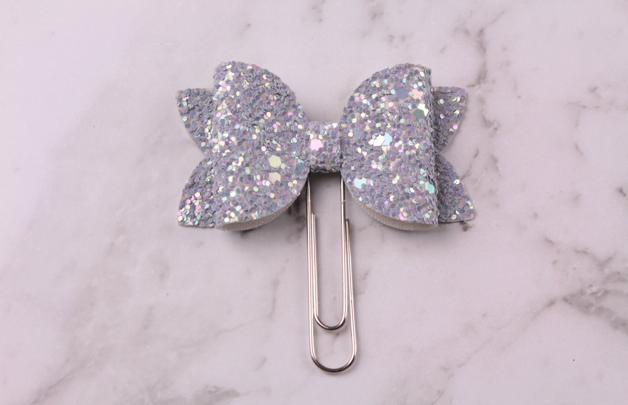 Grey Glitter Planner Bow Clip
