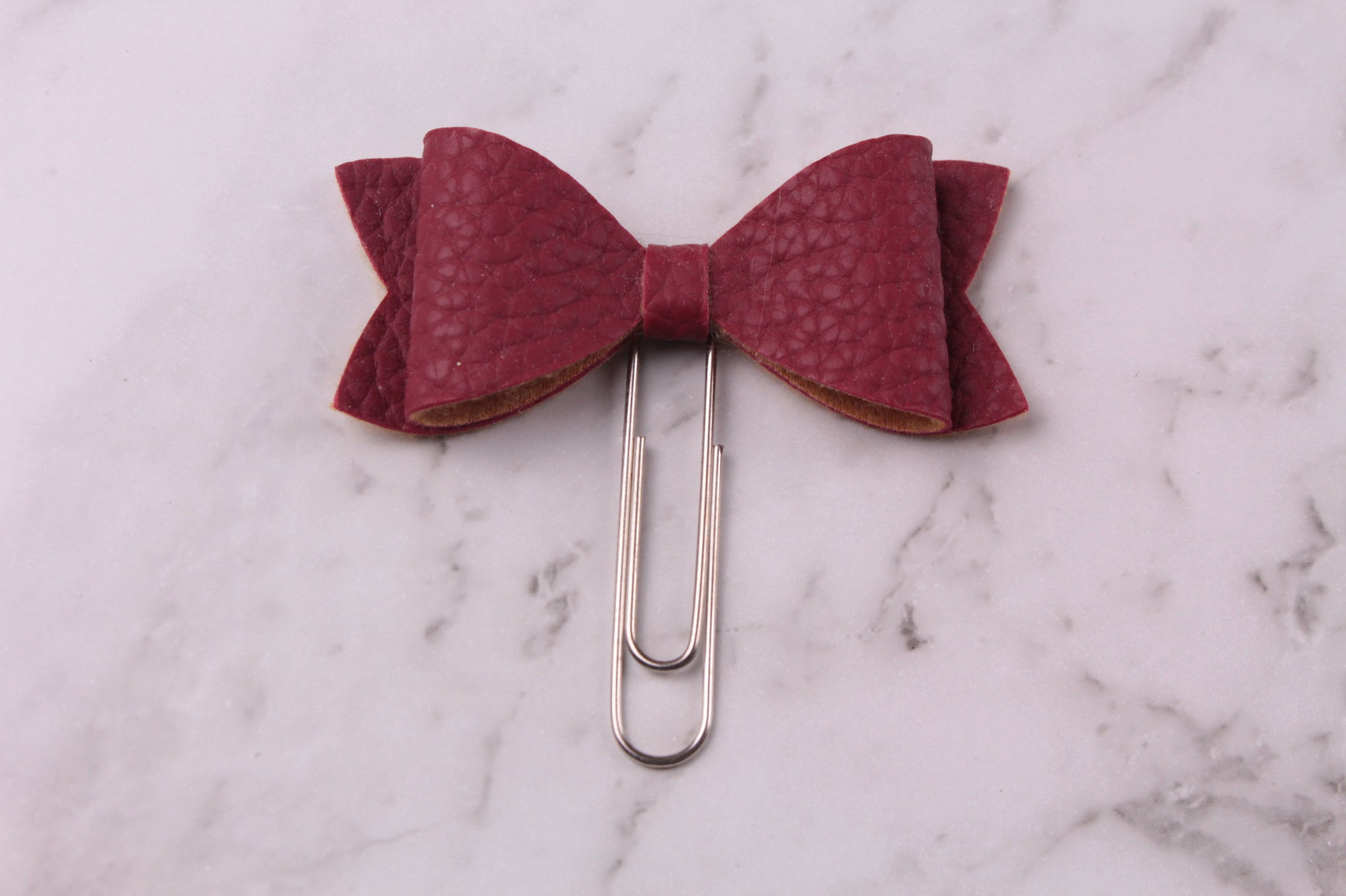 Maroon Faux Leather Planner Bow Clip