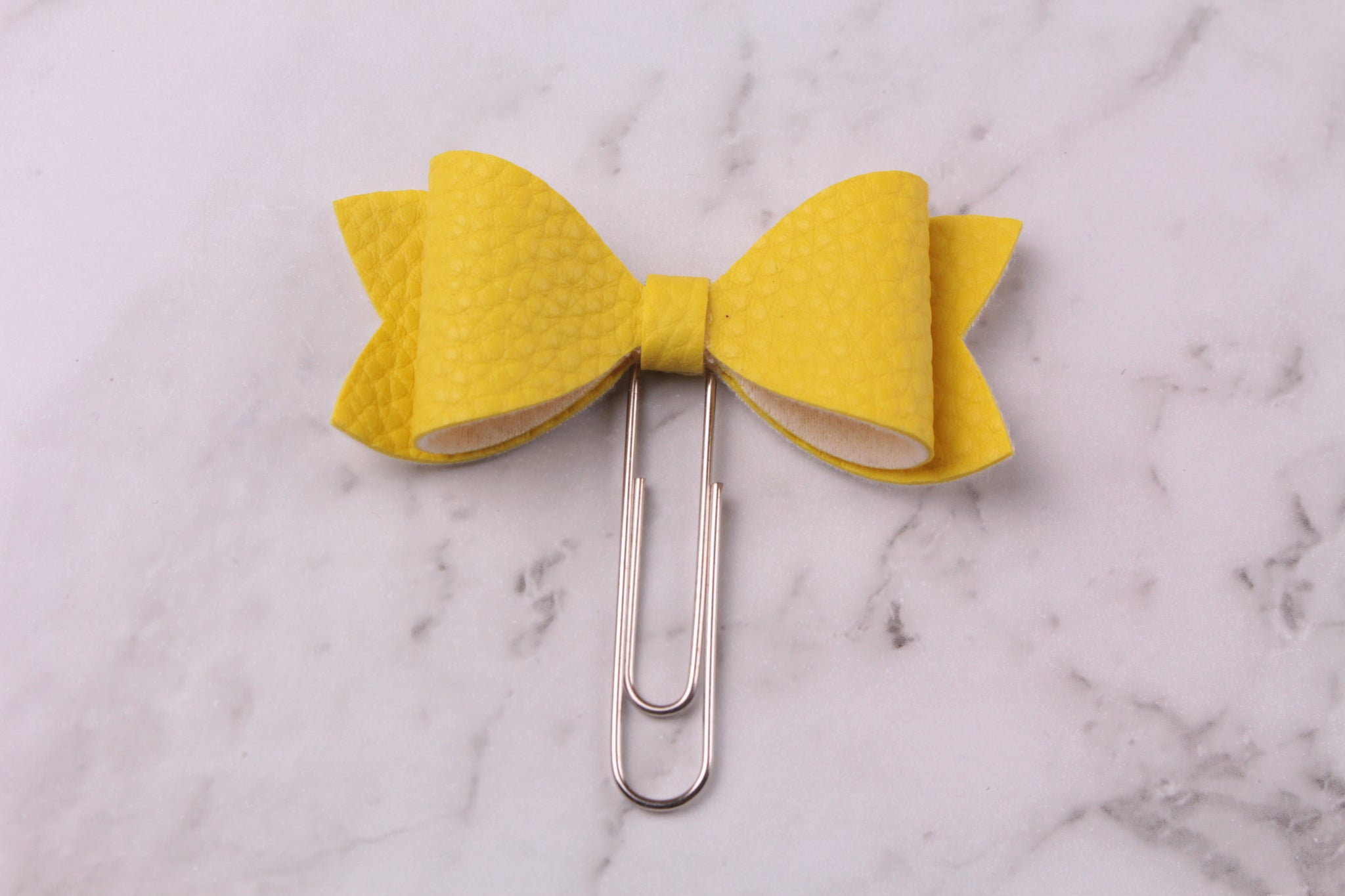Yellow Faux Leather Planner Bow Clip