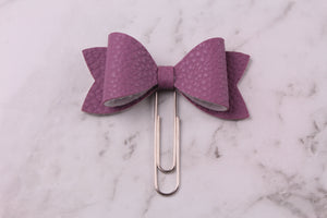 Grape Faux Leather Planner Bow Clip