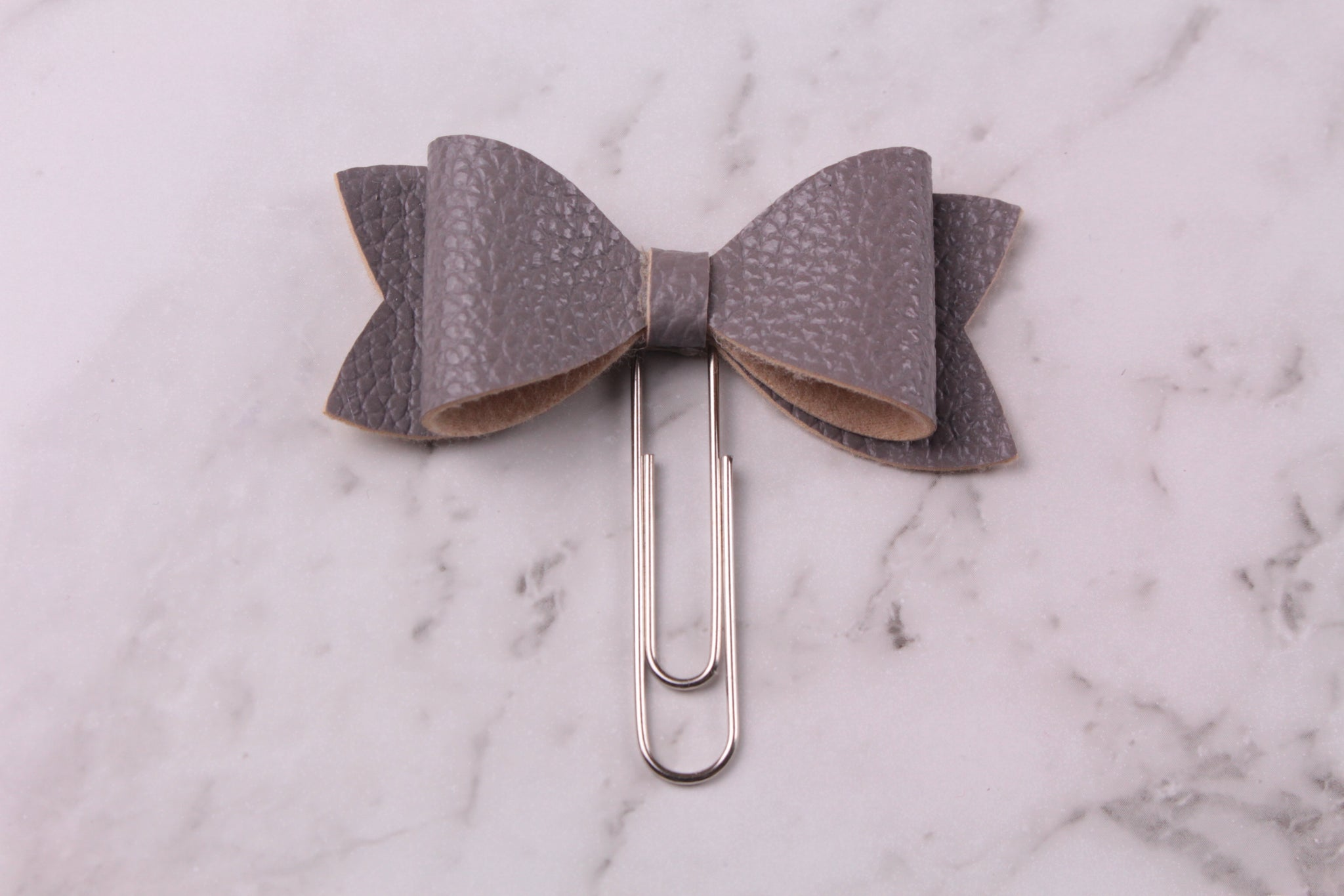 Grey Faux Leather Planner Bow Clip
