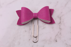 Orchid Purple Faux Leather Planner Bow Clip