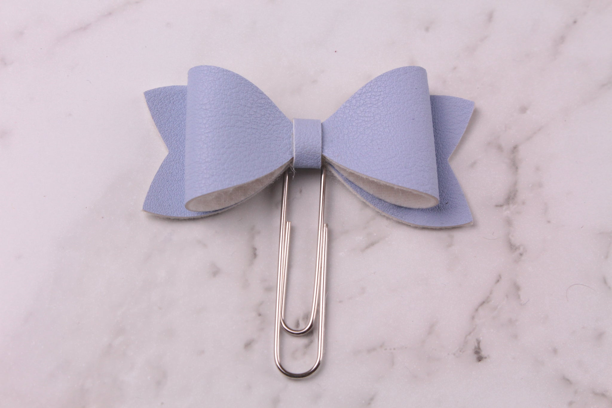 Whisper Blue Faux Leather Planner Bow Clip