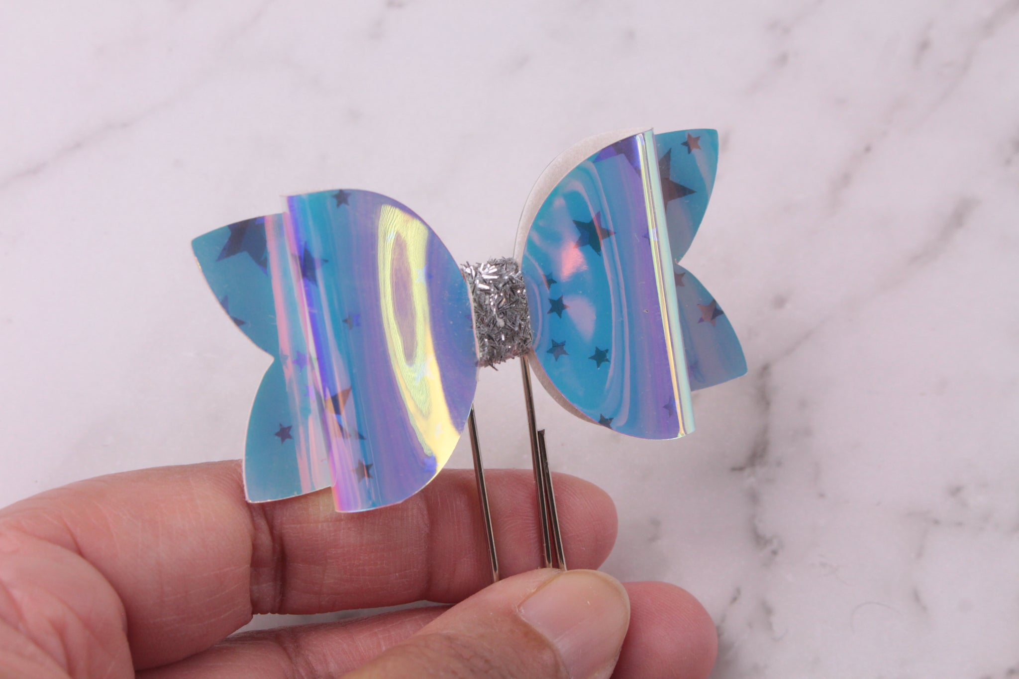 Holographic Stars Planner Bow Clip