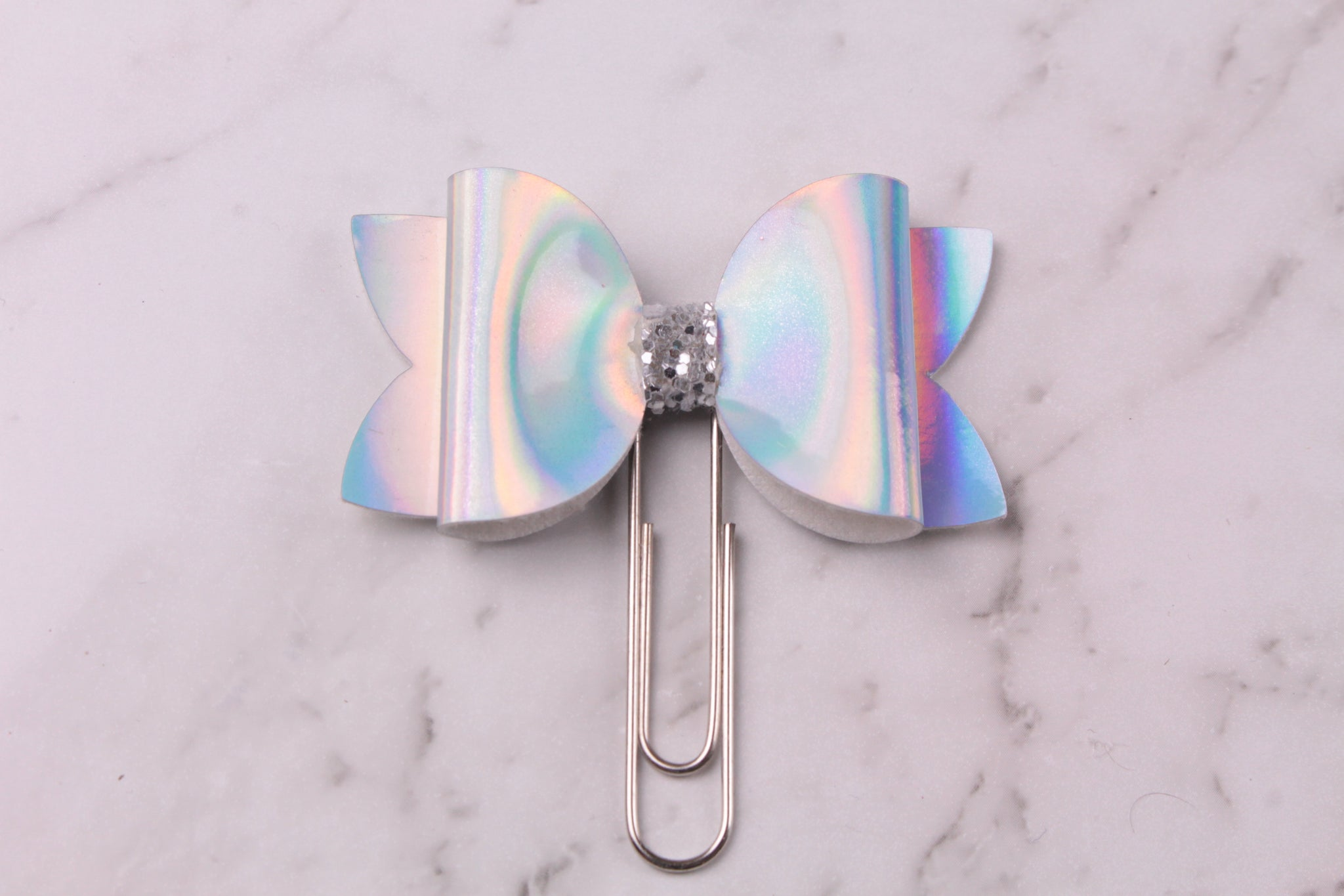 Silver Patent Planner Bow Clip