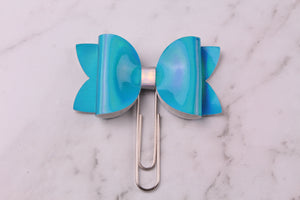 Blue Patent Planner Bow Clip
