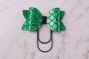 Green Mermaid Scales Planner Bow Clip