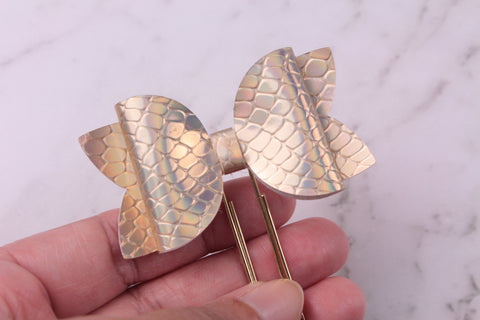 Gold Holographic Dragon Scales Planner Bow Clip