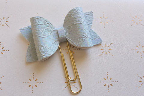 Blue Embossed Planner Bow Clip