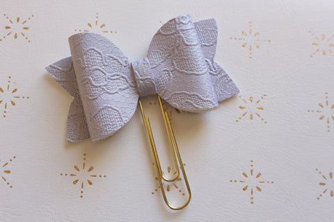 Purple Embossed Planner Bow Clip
