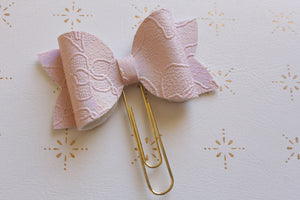 Pink Embossed Planner Bow Clip