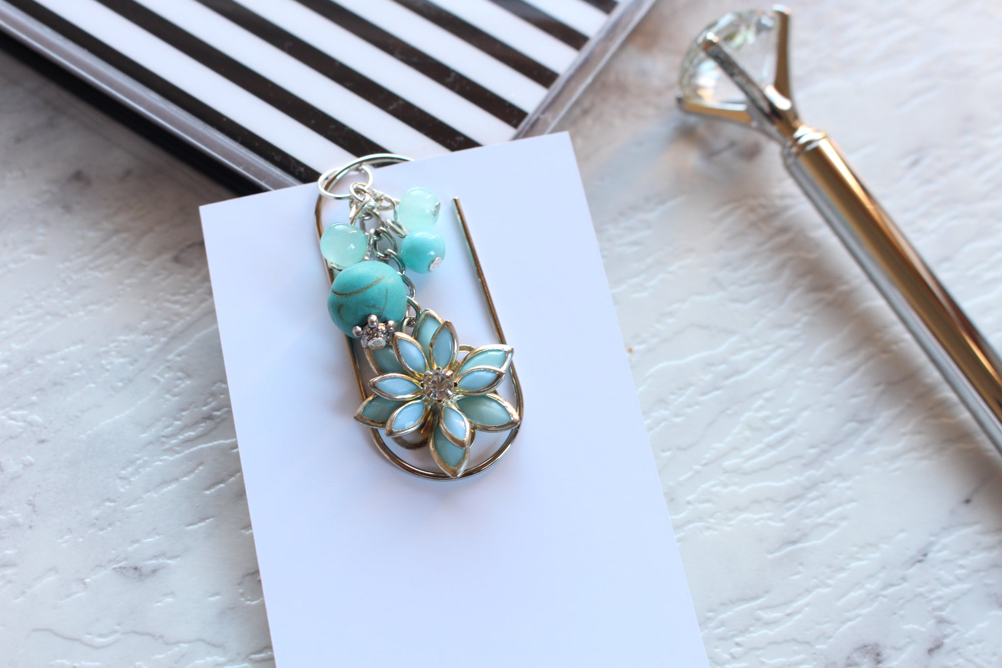 Turquoise Flower Dangle Clips