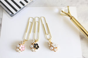Chunky Floral Dangle Clips