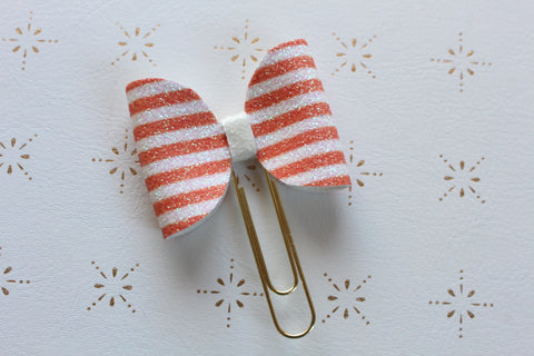 Orange and White striped Halloween bow clip