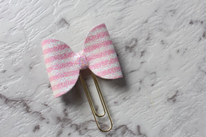Pink and White Stripes Bow Clip