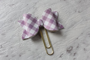Purple Gingham Bow Clip