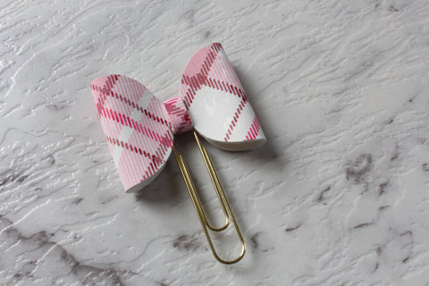 Pink and White Plaid Bow Clip