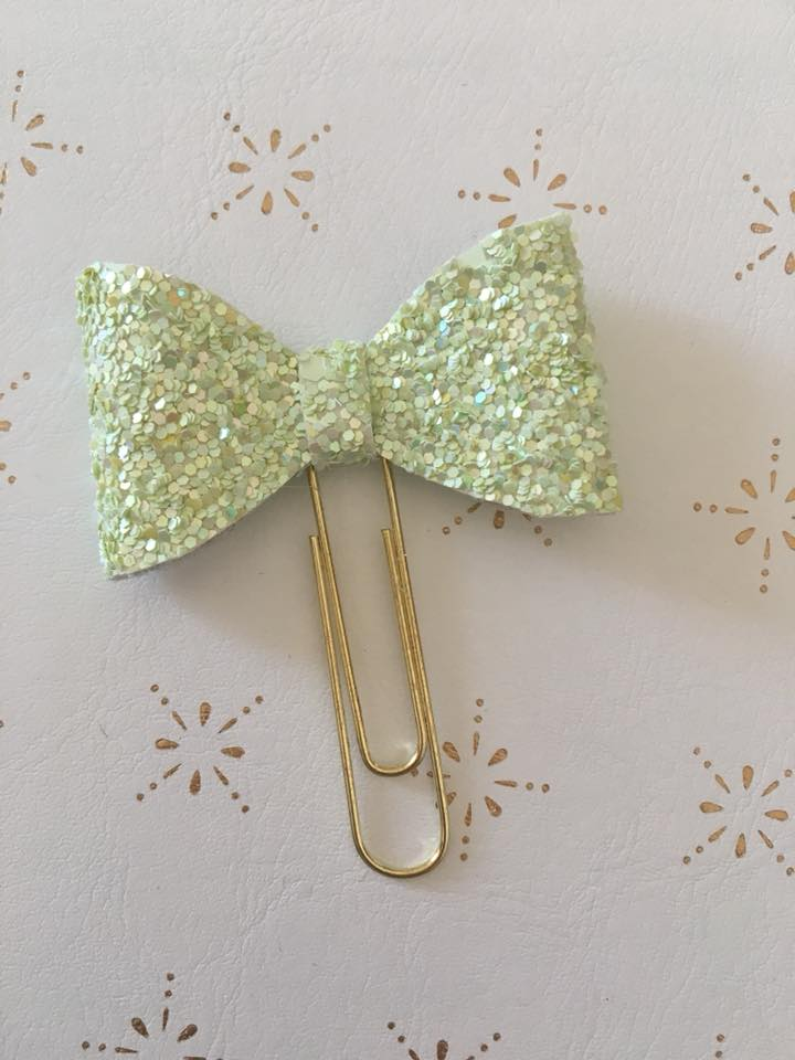 Lime Green Glitter Bow Clip